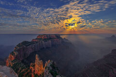 Arizona, Grand Canyon, National Park, Sunrise, Moonset, Moon, Smoke, Fires