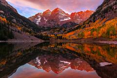 Colorado, Maroon Lake, Maroon Bells, Sunrise, Fall, Aspen