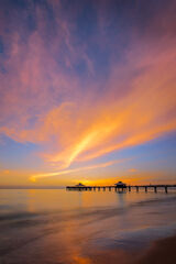 Florida, Fort Meyers, Beach, Pier, sunset