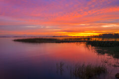 Florida, Lake, Istokpoga, Sunrise, Reflection
