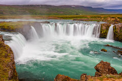 iceland, waterfall, godafoss, sunrise
