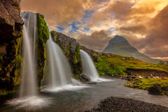 iceland, waterfall, kirkjufellfoss, sunset