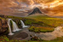 iceland, waterfall, kirkjufellfoss, sunrise