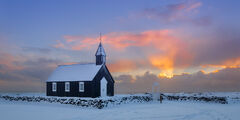 Iceland, Snaefellness, Peninsula, Black, Church, Sunrise