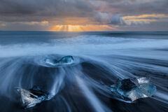 Iceland, iceberg, Jokulsarlon, lagoon, ice, sunrise, beach