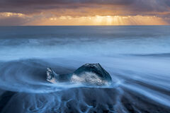 Iceland, Jokulsarlon, iceberg, sunrise, ocean
