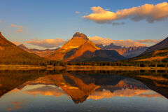 Montana, Glacier, Glacier Park, Glacier National Park, mountain, Mount Wilbur, reflection, Many Glacier, sunrise