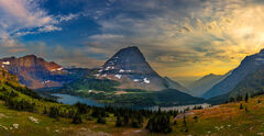 Montana, Glacier, Glacier Park, Glacier National Park, sunset, Lake, Hidden Lake