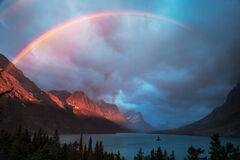 Montana, Glacier, Glacier Park, Glacier National Park, Wild Goose, Island, Rainbow