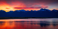 Montana, Mission Range, Mountain, Sunrise, Reflection