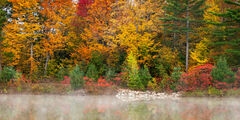 New Hampshire, White Mountains, Fall, Color, Lake, Fog