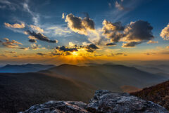 North Carolina, Mountain, Blue Ridge, Sunset, Craggy Gardens