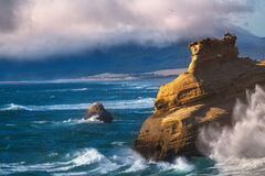 Oregon, Cape, Kiwanda, Storm, Wave