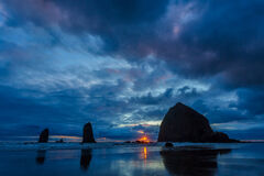 Oregon, Coast, Canon Beach, Haystack Rock, Sunset
