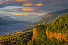 Oregon, Columbia, River, Vista, House, Sunset