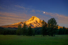 Oregon, Mount, Hood, Sunrise, Moon, Mountain