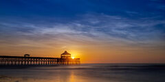 South Carolina, Charleston, Folley Beach, sunrise, pier