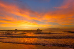 South Carolina, Folly Beach, Pier, Sunrise