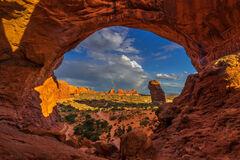 Utah, Arches, National  Park, Double, Arch, Rainbow