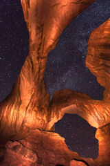 Utah, Arches, National Park, double arch, night