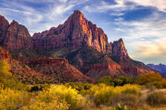 Utah, Zion Park, The Watchman, River, Mountain