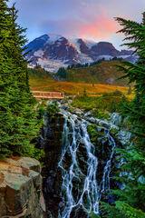 Washington, Mount Rainier, Mountain, Sunrise, Myrtle Falls
