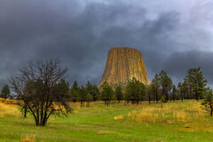 Wyoming, Devils Tower, Badlands, National Park, Stormy, Clouds