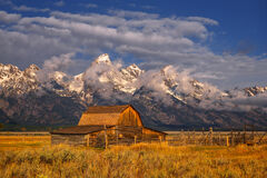 Wyoming, Grand Tetons, National Park, Mormon Row, Barn, Clouds