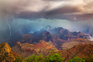 Arizona, Grand Canyon, Storm, Lightning, Grandview, Point, Rain, Clouds