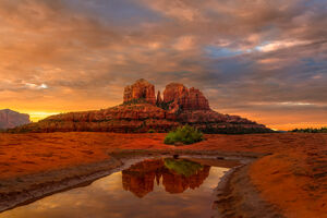Arizona, Sedona, Slickrock, Secret, Sunrise, Cathedral, Rocks, Reflecting, limited edition, photograph, fine art, landscape, red rock