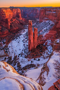 Arizona, Canyon, Canyon de Chelly, Spider Rock, Red Rock, Snow, Winter, limited edition, photograph, fine art, landscape