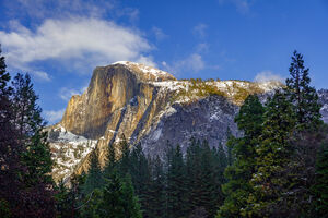 California, Yosemite, Half-dome, Winter, Moonrise