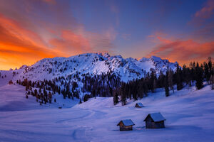 Italy, Dolomites, Mountains, Sunrise, Sheppard, Huts
