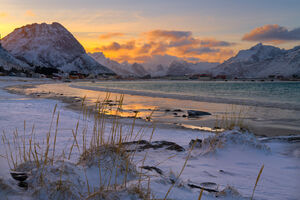 Norway, lofoten, Rahmberg, Beach, Sunset