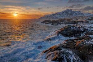 Norway, Lofoten, Sunset, Coast, Mountain