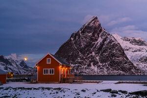 Norway, Lofoten, Renie, Mountain, Sunrise, Moon,
