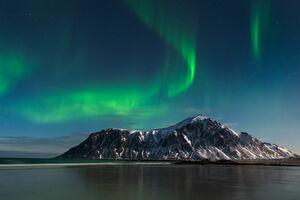 Norway, Lofoten, Skagsanden, Aurora, Beach
