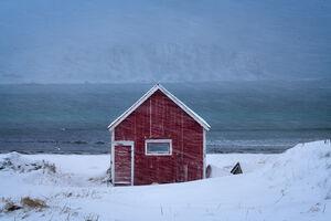 Norway, Ramberg, Winter, Boathouse, Snowstorm