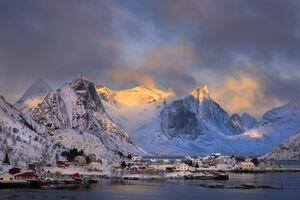 Norway, Lofoten, Hamnoy, Winter, Weather