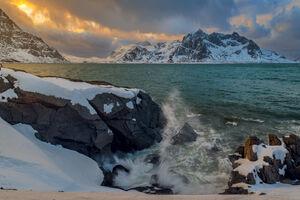 Norway, Lofoten, Wind, Waves, Mountains, Sky