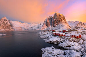 Norway, Lofoten, Islands, Sunrise, Cabins, Red, Winter, Snow, limited edition, photograph, fine art, landscape