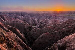 South Dakota, Badlands, National Park, Sunrise, Rock, Formations