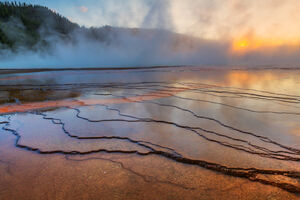Wyoming, Yellowstone, National Park, Grand Prismatic, Spring, Sunset, Colors