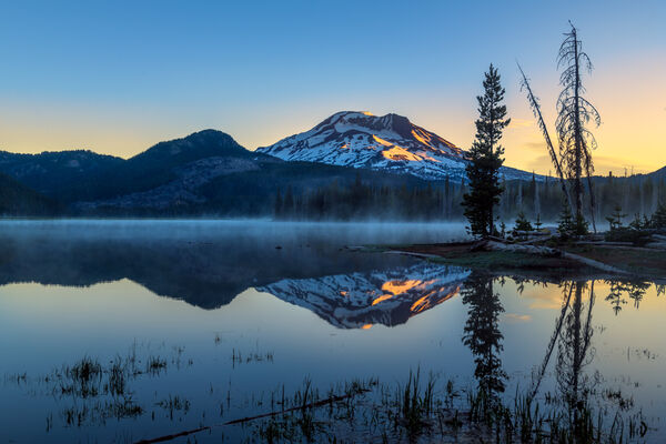 Oregon, Sparks Lake, Sunrise, Reflection, Broken Top