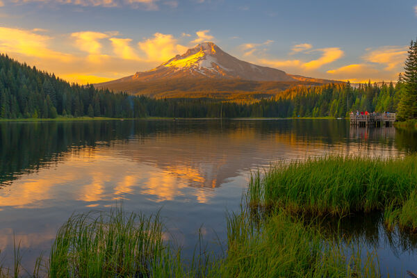 Oregon, Trillium Lake, Sunset, Lake, Pacific Northwest