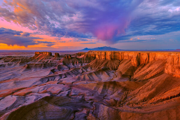 Utah, Desert, Factory Butte, Sunrise, Canyon, Storm, Monsoon, Purple,  limited edition, photograph, fine art, landscape, southwest