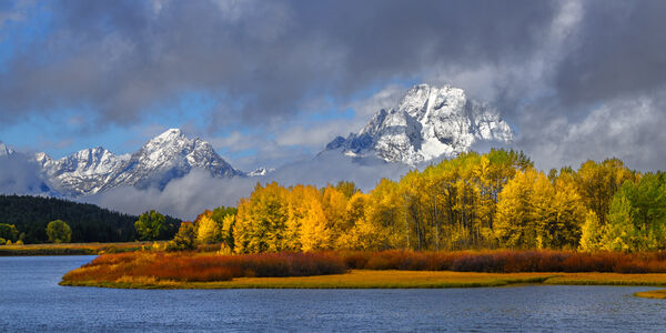 Wyoming, Grand Teton, National Park, Snake River, Owbow Bend, Fall, Snowstorm