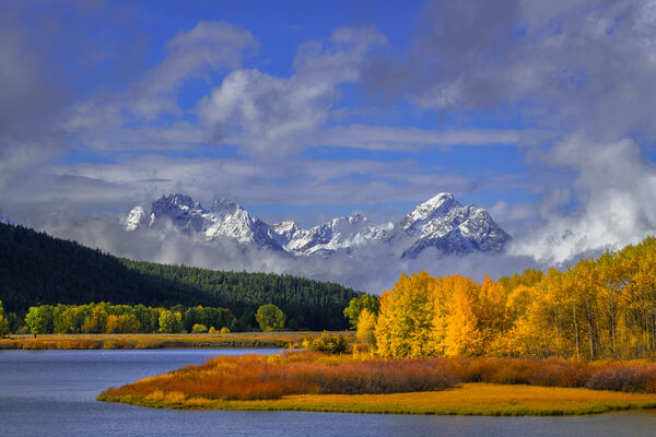 Wyoming, Grand Teton, National Park, Moran, Mountains, Snake River, Fall Colors, Fall, Snowstorm, oxbow bend