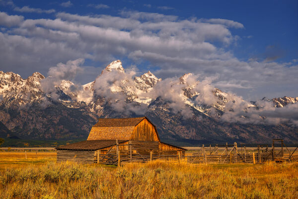 Wyoming, Grand Tetons, National Park, Mormon Row, Barn, Clouds, limited edition, photograph, fine art, landscape