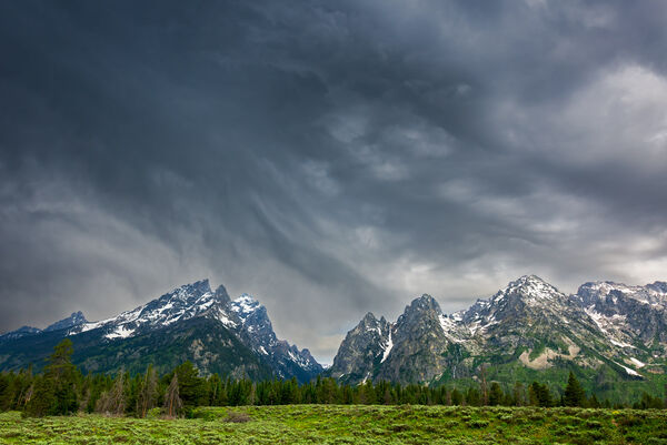 Wyoming, Tetons, Grand Tetons, storm, clouds, mountains